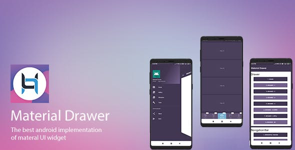 Drawer Material Design UI Android Template App