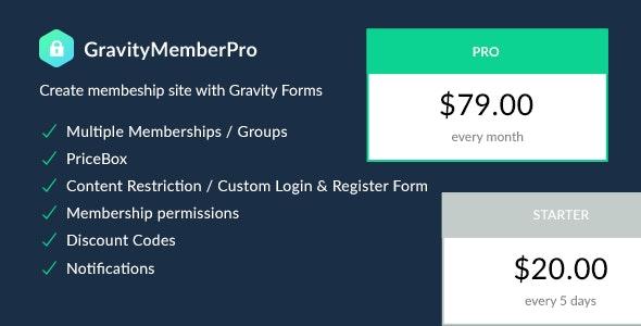 GravityMemberPro - Create membership site with Gravity Forms | Membership Plugin - CodeCanyon Item for Sale