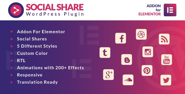 Social Share for Elementor WordPress Plugin - CodeCanyon Item for Sale