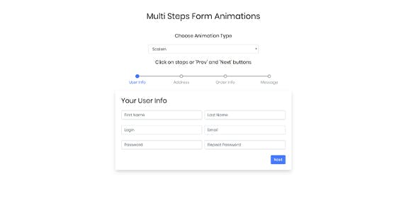Bootstrap Multi Step Form Animations With CSS
