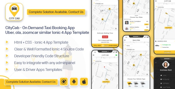 CityCab - On Demand Taxi Booking App -  Uber, ola, zoomcar similar app ionic 4 template android ios - CodeCanyon Item for Sale