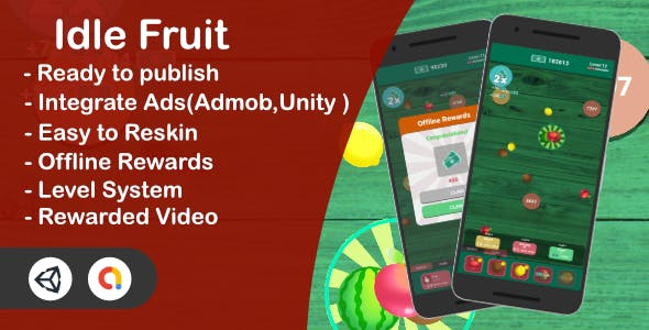 Idle Fruit - Clicker Game(Unity Complete + Admob + iOS + Android)