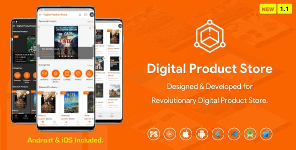 Digital Download Products Store For eBook, Video, Photo (Using Flutter For iOS and Android) 1.1