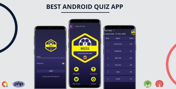 The Quizzle Android App - PHP Backend + Admob + OneSignal