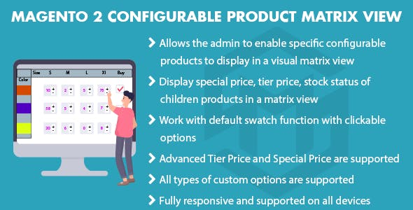 Magento 2 Configurable Product Matrix View