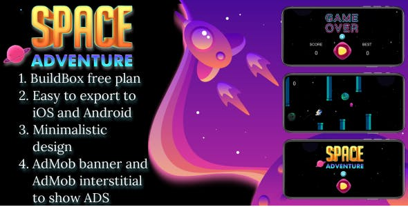 """Space adventure"" BuildBox free plan 2d game"