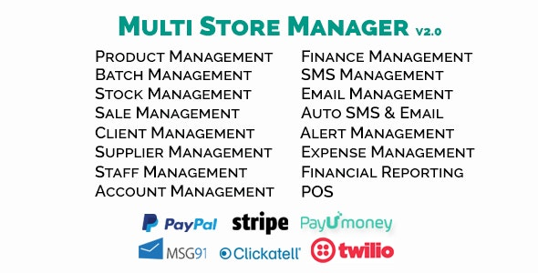 Multi Store Manager - Store / Shop Management System (Saas App) - CodeCanyon Item for Sale