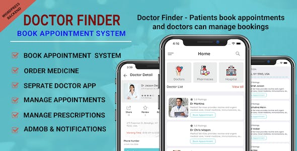 Doctor Finder - Book Appointment System with wordpress backend IPhone application