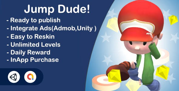 Jump Dude!(Unity Complete+Admob+InApp+Ultra Casual)