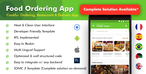 Food Delivery App v2.0 – Food Ordering App – Android + iOS App Template|3 Apps| Multi Restro Cookfu (IONIC 4)