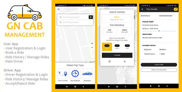 GN Cab Management - Ionic Cab Booking, Taxi Booking Android & iPhone App, PHP Codeigniter
