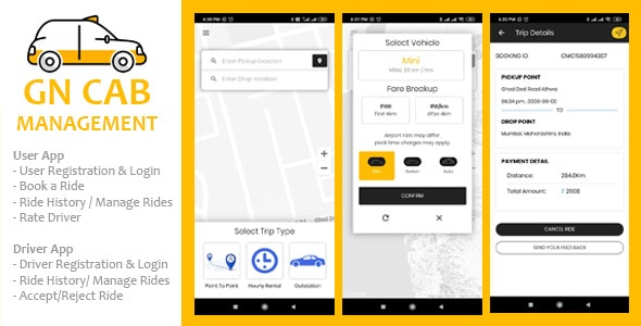 GN Cab Management - Ionic Cab Booking, Taxi Booking Android & iPhone App, PHP Codeigniter - CodeCanyon Item for Sale