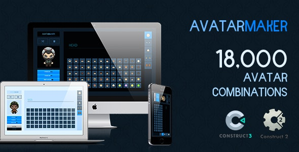 Avatar Maker - 18,000 Avatar Combinations (Construct 2 | Construct 3 | Capx | HTML5) - CodeCanyon Item for Sale