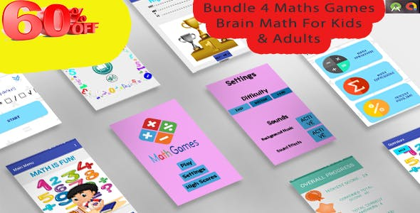 Mega Bundle 4 Math Games (60% OFF) - Android Studio with Admob