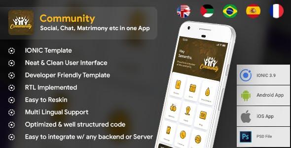Modern Community App Template (HMTL + Css) IONIC 4