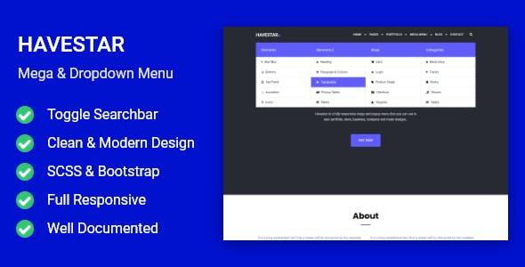 Havestar - Responsive Mega & Dropdown Menu