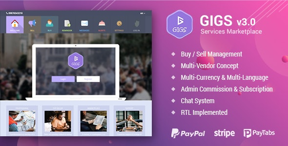 Gigs - Services Marketplace - Fiverr & Freelancer Clone - Multi Vendor - CodeCanyon Item for Sale