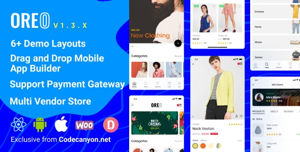 Oreo Fashion - Full React Native App for Woocommerce - CodeCanyon Item for Sale