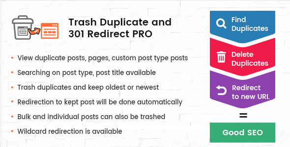 Trash Duplicate and 301 Redirect PRO for WordPress