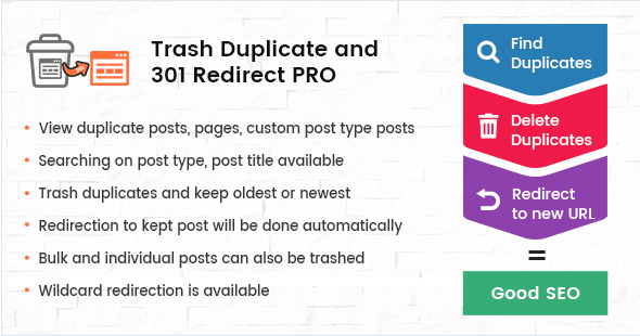 Trash Duplicate and 301 Redirect PRO for WordPress - CodeCanyon Item for Sale