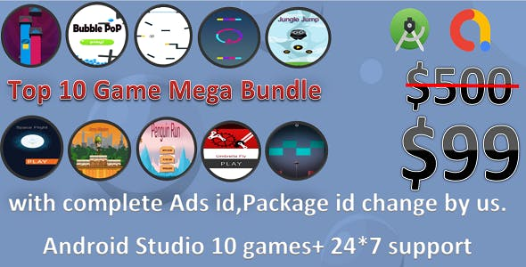 10 Games Mega Bundle(Android studio+Free Ads change+package id change+complete support)