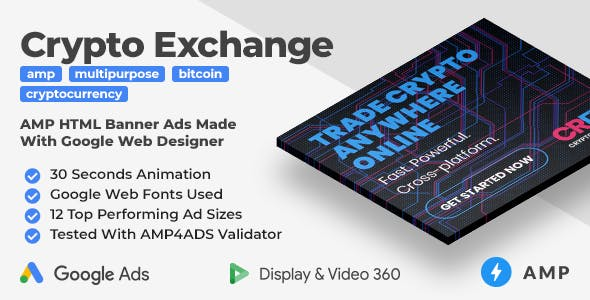 Cryptocurrency Exchange Animated AMP HTML Banner Ad Templates (GWD, AMP)