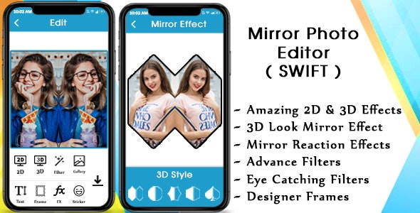 Mirror Photo - 3D MirrorPic Editor IOS (Swift) - CodeCanyon Item for Sale
