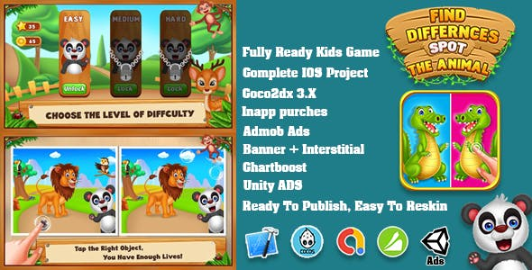 Top Kids Game Zoo Animal Find the Differences + Admob + more network + Education + Ready For Publish