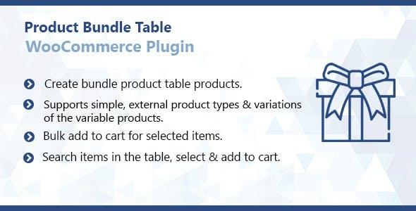 WooCommerce Product Bundle Table Plugin