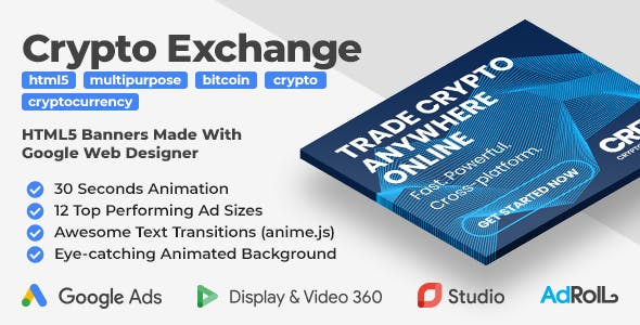 Cryptocurrency Exchange HTML5 Banner Ad Templates (GWD, anime.js)