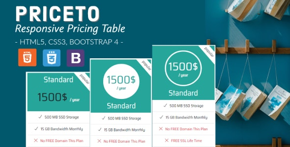 Priceto - Responsive Pricing Tables - CodeCanyon Item for Sale