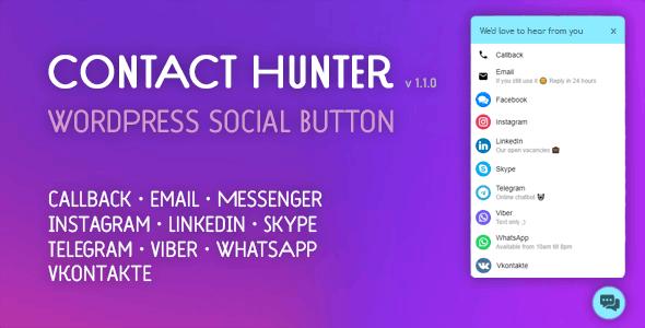Contact Hunter WordPress Button — Facebook Messenger, WhatsApp, Skype, callback and more..