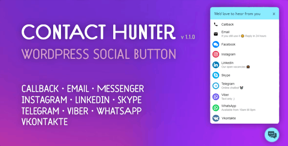 Contact Hunter WordPress Button — Facebook Messenger, WhatsApp, Skype, callback and more.. - CodeCanyon Item for Sale