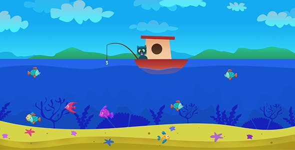 Cat's Fishing Day - HTML5 Fishing Game