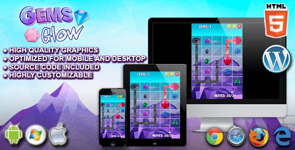 Gems Glow - HTML5 Puzzle Game
