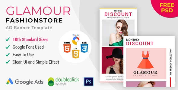 Glamour fashion store HTML 5 Animated Google Banner - CodeCanyon Item for Sale