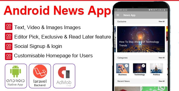 GoNews | Android News App with Video, Ads & PHP Backend