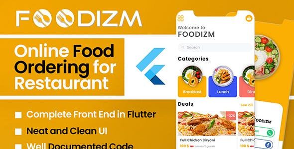 Foodizm - Restaurant Food Ordering App UI Kit in Flutter
