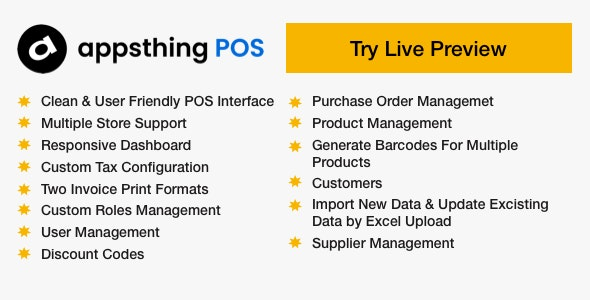 Appsthing POS - Multiple Store Point of Sale, Billing and Inventory Management Application - CodeCanyon Item for Sale