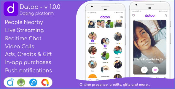 Datoo - Dating platform with Live Steaming and Video calls + Admin Panel
