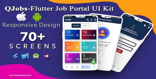QJobs-Flutter Job Portal UI Template Kit - CodeCanyon Item for Sale