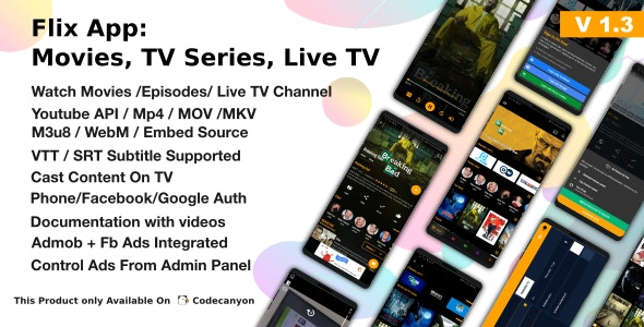 Flix App Movies - TV Series - Live TV Channels - TV Cast - CodeCanyon Item for Sale