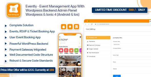 Evently - Event Calendar Mobile App  Full Working Solution With WordPress Backend like Eventon