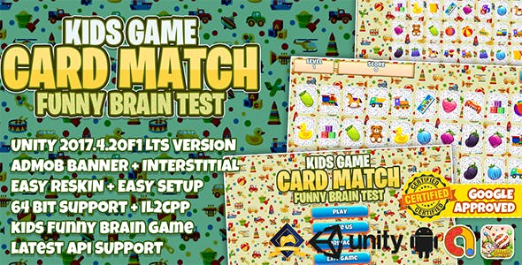 KIDS CARD MATCH UNITY FULL PROJECT + ADMOB + EASY RESKIN + 64BIT SUPPORT