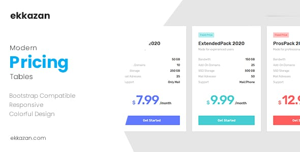 Modern & Bootstrap Compatible Pricing Tables