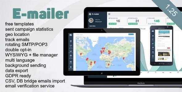 E-mailer - Newsletter & Mailing System with Analytics + GEO location