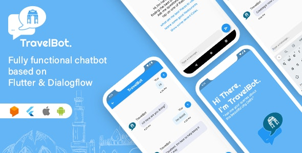 TravelBot -  Flutter & DialogFlow based AI powered chatbot - CodeCanyon Item for Sale