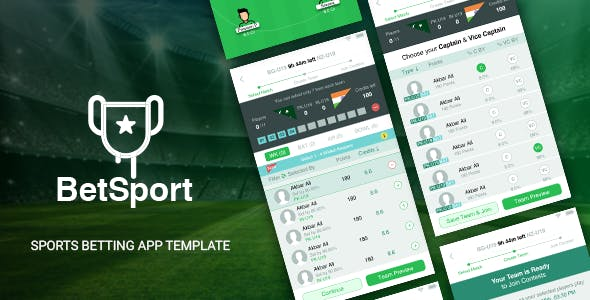 BetSport - Online Fantasy Sports Betting App Template - IONIC 5