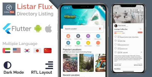 Listar Flux - mobile directory listing app template for Flutter - CodeCanyon Item for Sale
