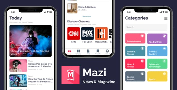 Mazi - News & Magazine for React Native mobile template